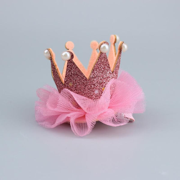 "2"" Pink Glitter Pearled Crown Hair Clip"
