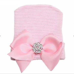 Newborn Infant Baby Hospital Hat with Large Grosgrain Bow w/ Rhinestone Brooch