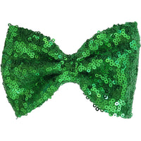 "Hair bow clip, Sequin, 5"", Kelly green, green"
