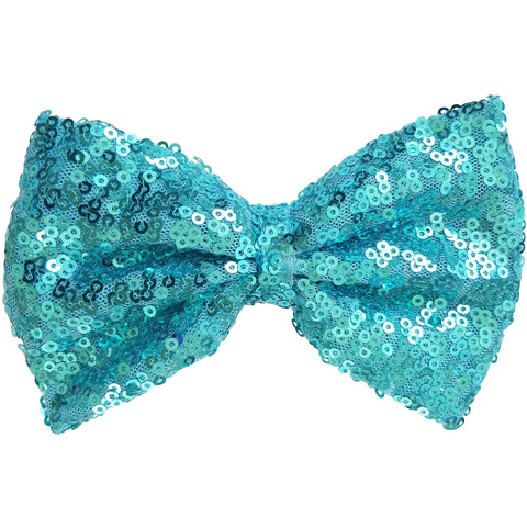 "Hair bow clip, Sequin, 5"", light blue"