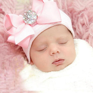 Blue Newborn Infant Baby Hospital Hat with Large Bow and Brooch