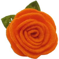 "1.5"", felt, rose, hair clip, clip,orange,burnt orange"