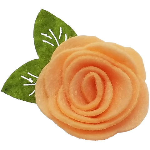 "1.5"", felt, rose, hair clip, clip,peach,light orange"