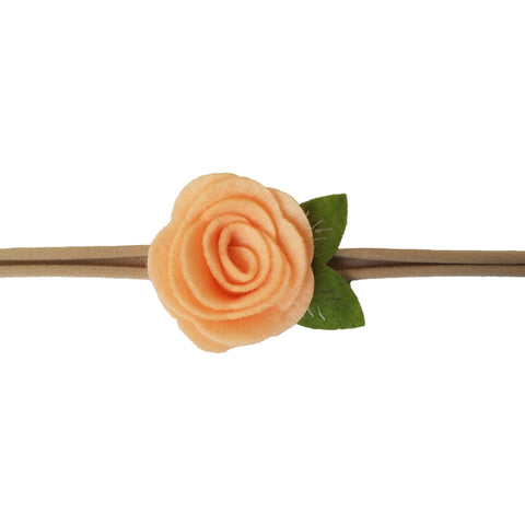 "1.5"", rose, headband, felt, nylon, peach"