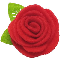 "1.5"", felt, rose, hair clip, clip,red"
