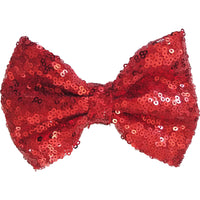 Red 5'' Inch Large Messy Sequin Hair Bow Clips