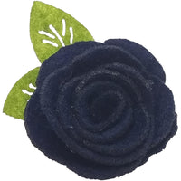 "1.5"", felt, rose, hair clip, clip,navy blue, blue, navy"