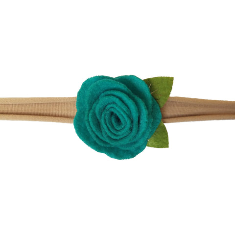 "1.5"", rose, headband, felt, nylon, teal"
