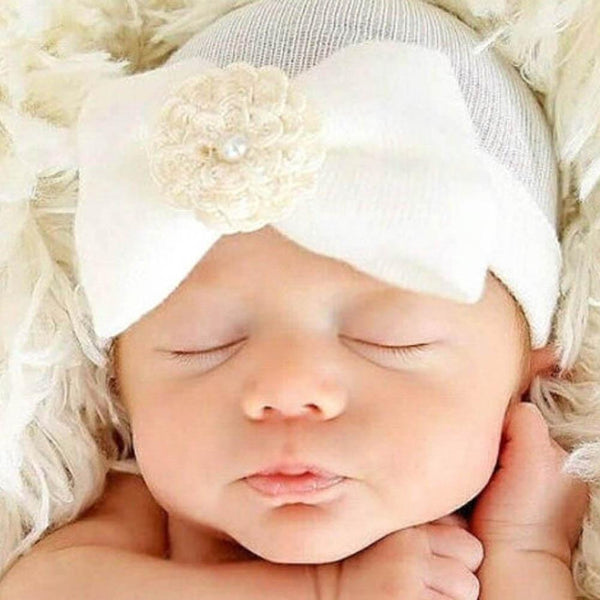 Newborn Infant Baby Hospital Hat with Large Bow and Pearls