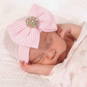 Newborn Infant Baby Hospital Hat with Large Bow and Rhinestone
