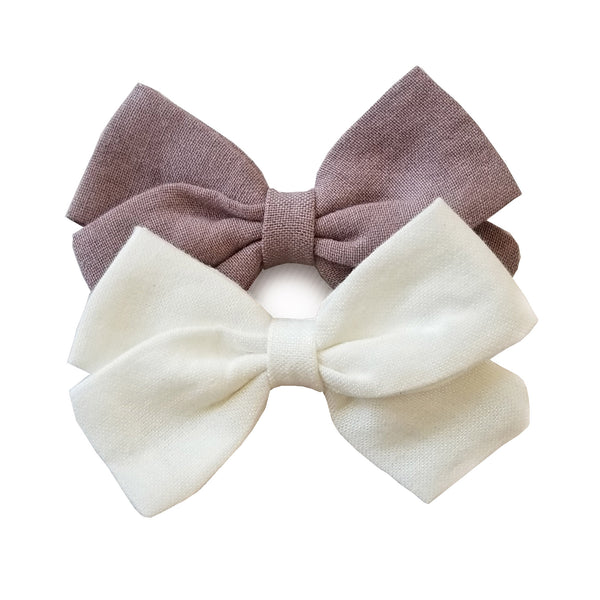"handmade hairbows, Neutral hairbow, white boho hairbow, 3"" white hairbow"