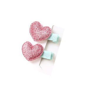 2 Pack GLittery Pink and Blue Heart Hair Clips