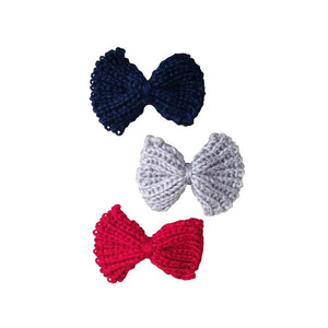 "3 Pack 2.5"" Crochet Knit Hair Bow Clips"