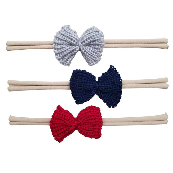 3 Pack Crochet Knit Nylon Headbands