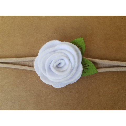 "1.5"", rose, headband, felt, nylon, white"