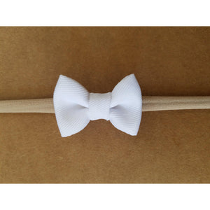 "White 1.5"" Tiny Bow Headband"