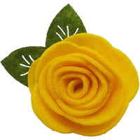 "1.5"", felt, rose, hair clip, clip,yellow"