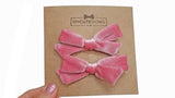 pigtail hair bows, pigtail velvet hair bows, velvet hair bow, velvet, velvet bow, my cute bows, mycutebows.com, blush bow, pink hair bows #hairbows