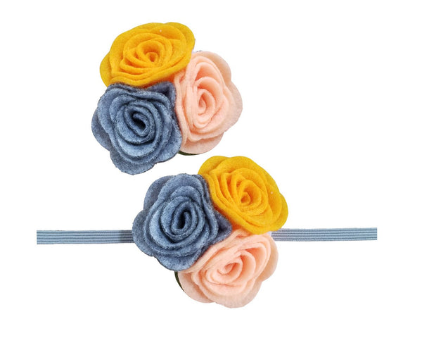 "2.5"" Felt flower Rose Headband OR Hair Clip"