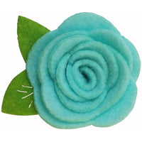 "White 1.5"" Felt Flower Rose Clip"