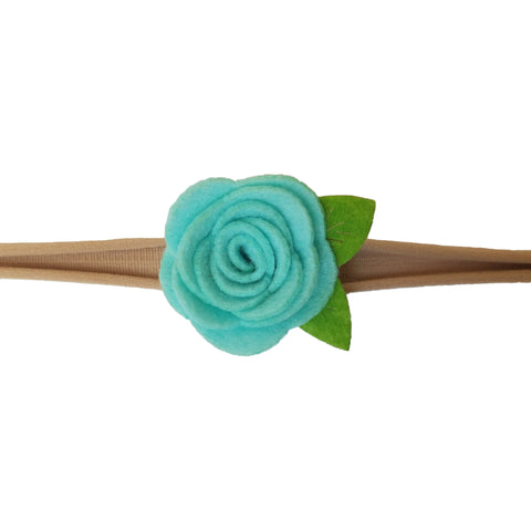 "1.5"", rose, headband, felt, nylon, aqua"