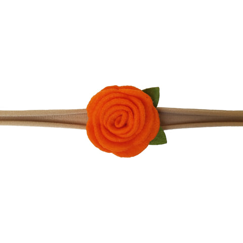 "1.5"", rose, headband, felt, nylon, orange"