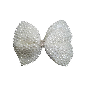 "4"" White Pearl Hair Bow Clip for Toddlers"