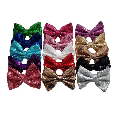 5'' Inch Large Messy Sequin Hair Bow Clips
