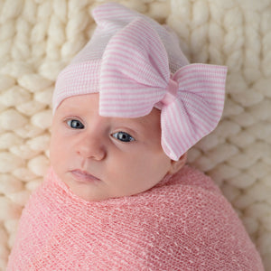 Newborn Infant Baby Hospital Hat with Large Bow