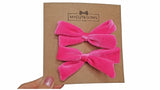 pigtail hair bows, pigtail velvet hair bows, velvet hair bow, velvet, velvet bow, my cute bows, mycutebows.com, fuchsia bow, pink hair bows #hairbows, hot pink