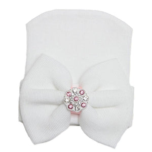 White Newborn Infant Baby Hospital Hat with Large Bow and Pink Rhinestones