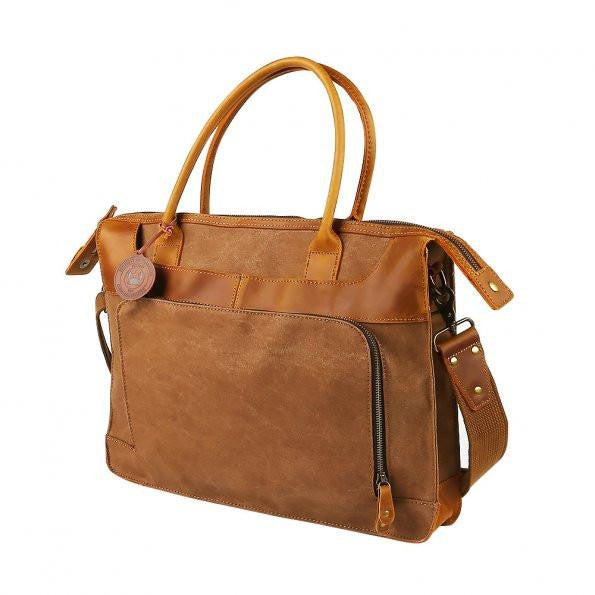 Classic Canvas Leather Laptop Briefcase-