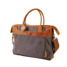"Classic Canvas Leather Laptop Briefcase- ""The Executive"""