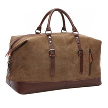 "Classic Canvas Leather Tote Luggage Bag - ""The Duffy"""