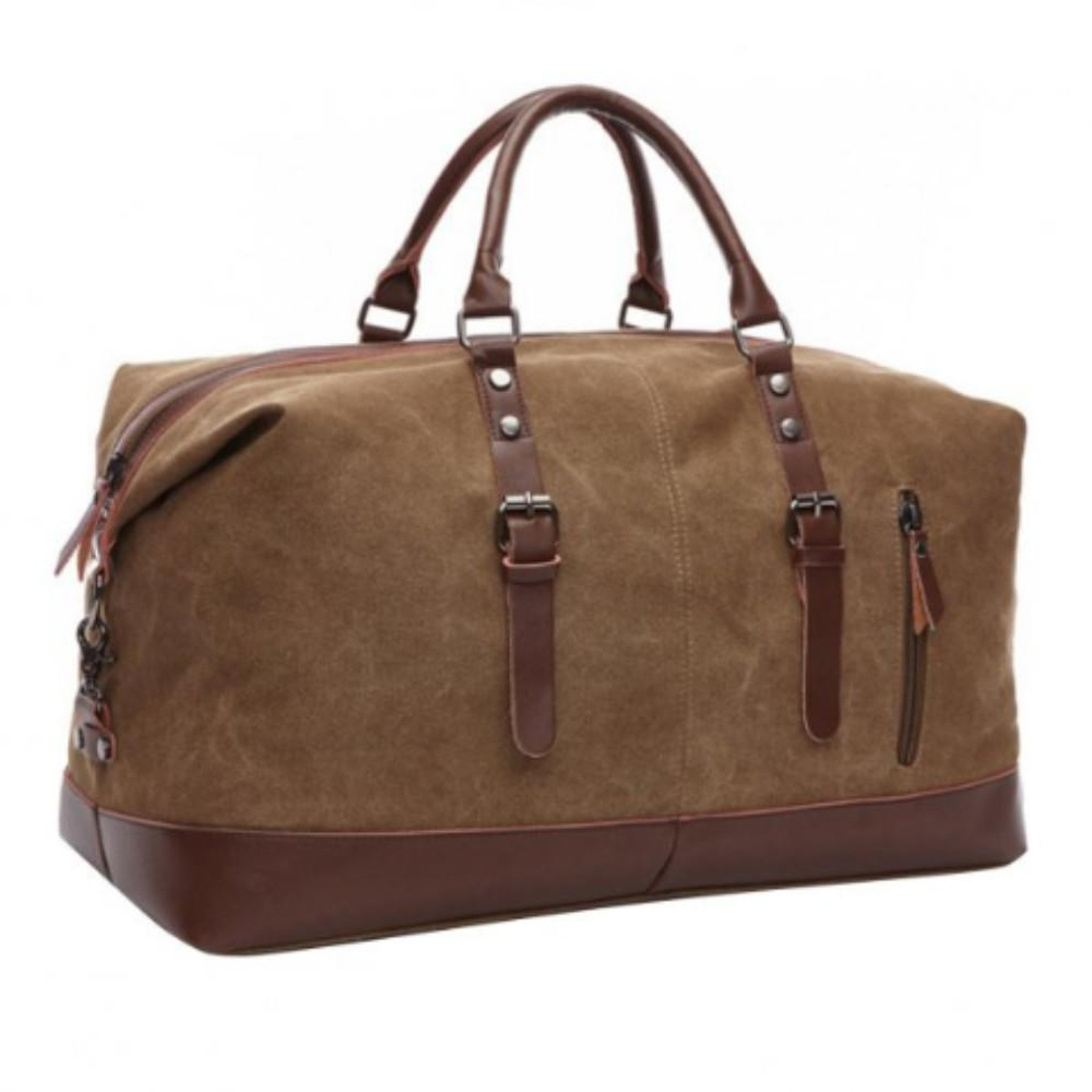 Classic Canvas Leather Tote Luggage Bag -