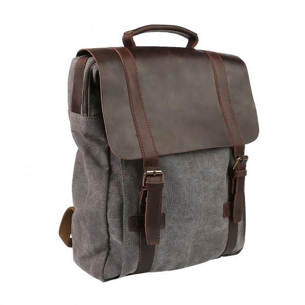 Classic Canvas Leather Travel Backpack -
