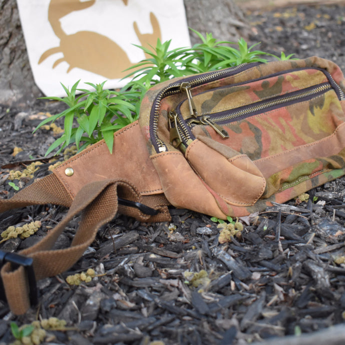 Camo Canvas Leather Waist Pack -