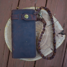 "Leather Wallet with Wrist Braid - ""The Companion"""