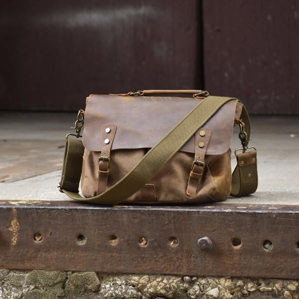 Classic Canvas Leather Laptop Messenger Bag -