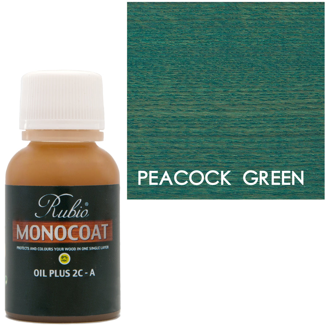 Rubio Monocoat Oil Plus 2C-A Sample Wood Stain Peacock Green