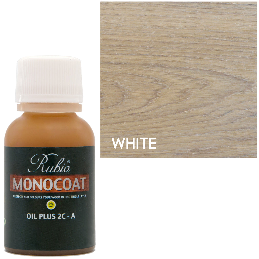 Rubio Monocoat Oil Plus 2C-A Sample Wood Stain White