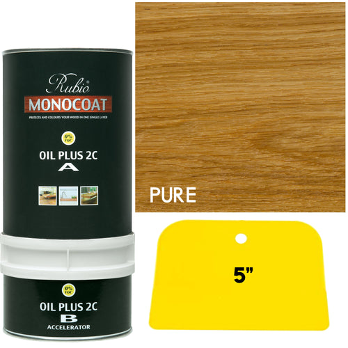 Rubio Monocoat Wood Stain Oil Plus 2C Pure (Clear) with FREE application blade