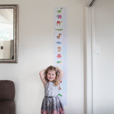 Colourful animal growth chart perfect for a nursery or child's room. Measures 2 metres tall, perfect for the whole family.