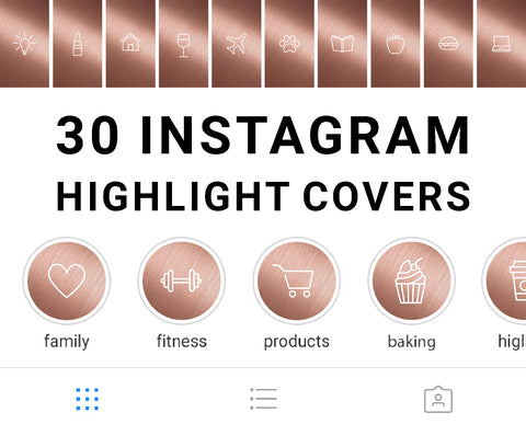 Rose Gold Instagram Story Highlight Cover Icons available for digital download. Set of 30