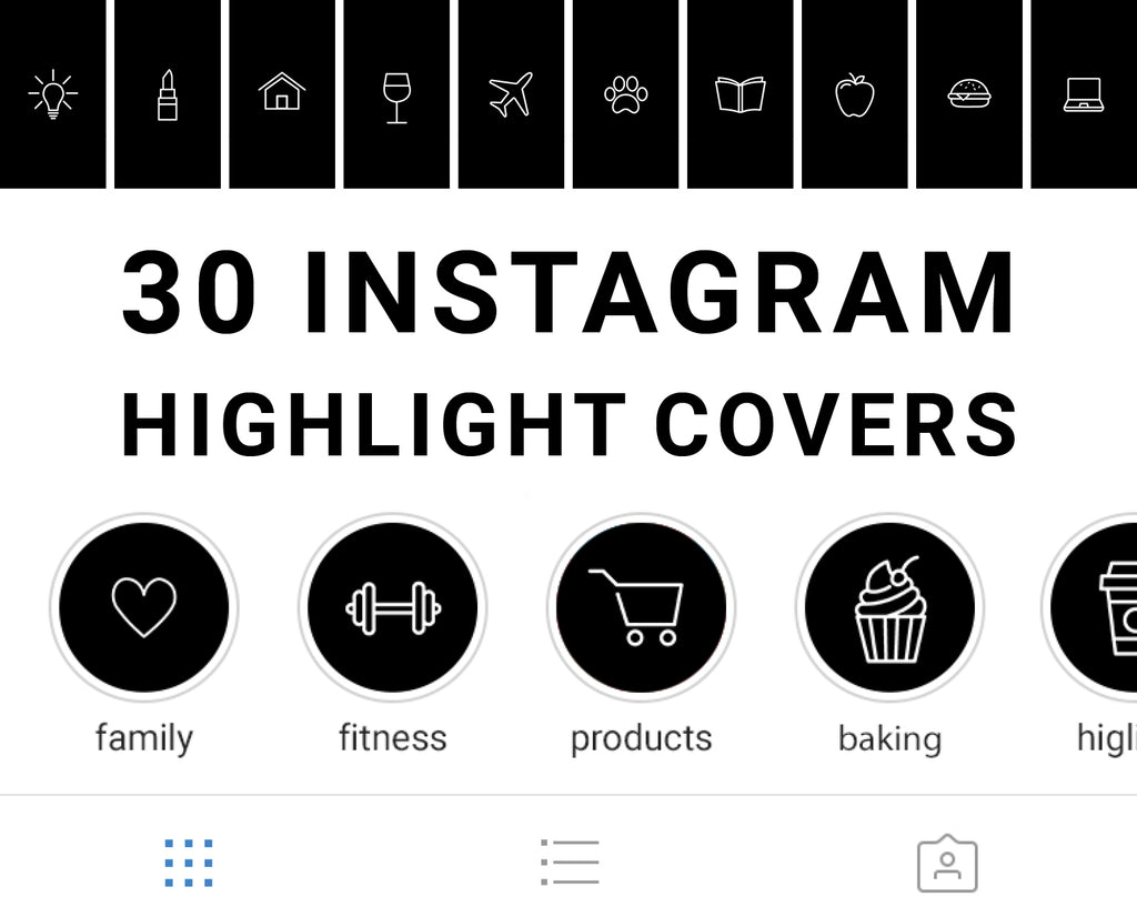 Food Instagram Highlight Cover Black Collection Anony Post Decor