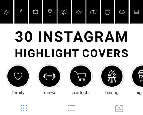Monochrome Instagram Story Highlight Cover Icons. Digitally Downloadable. Perfectly sized, ready for uploading onto Instagram.