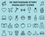 30 Instagram Highlight Icons - Blue & Black - Mimosa Designs