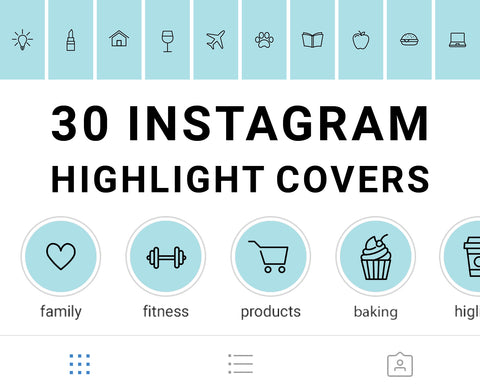Instagram Story Highlight Cover Icons available for digital download. Set of 30