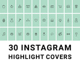 30 Instagram Highlight Icons - Green & Black - Mimosa Designs