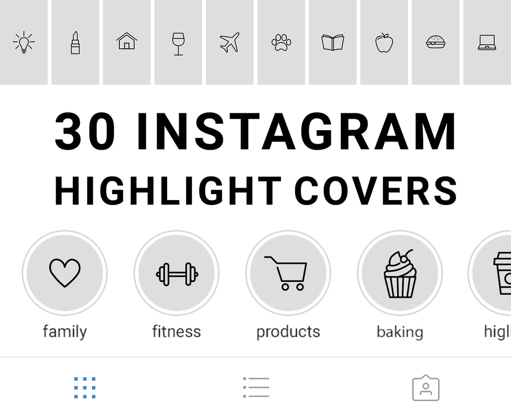 30 Instagram Story Highlight Icons - Grey and Black